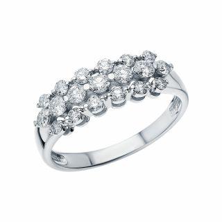 Золотое кольцо с бриллиантами SUNLIGHT: белое золото 585 пробы, бриллиант — купить в интернет-магазине Санлайт, фото, артикул 157316