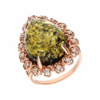 Серебряное кольцо с фианитами и янтарем 820251п: розовое серебро, янтарь, фианит — купить в интернет-магазине SUNLIGHT, фото, артикул 131017