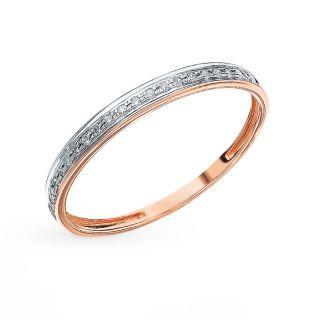 Золотое кольцо с бриллиантами SUNLIGHT: красное и розовое золото 585 пробы, бриллиант — купить в интернет-магазине Санлайт, фото, артикул 19473