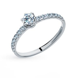Золотое кольцо с бриллиантами БРИЛЛИАНТЫ ЯКУТИИ: белое золото 585 пробы, бриллиант — купить в интернет-магазине SUNLIGHT, фото, артикул 99835
