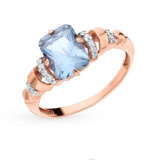 Серебряное кольцо с турмалинами и фианитами AQUAMARINE 6914488А.6: красное и розовое серебро 925 пробы, фианит, турмалин — купить в интернет-магазине SUNLIGHT, фото, артикул 110548