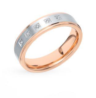 Золотое кольцо с бриллиантами ПУШКИНСКИЙ ЮВЕЛИРНЫЙ ЗАВОД 0152140582-53005: красное и розовое золото 585 пробы, бриллиант — купить в интернет-магазине SUNLIGHT, фото, артикул 90838