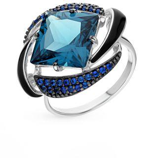 Серебряное кольцо с фианитами и эмалью SOKOLOV 92011300: белое серебро, эмаль, фианит — купить в интернет-магазине SUNLIGHT, фото, артикул 53935