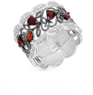 Серебряное кольцо с фианитами и гранатом SOKOLOV 92011307: белое и чёрное серебро 925 пробы, гранат, фианит — купить в интернет-магазине SUNLIGHT, фото, артикул 60226