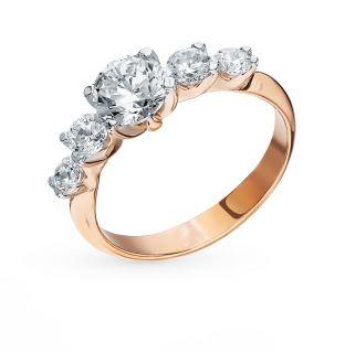 Серебряное кольцо с фианитами AQUAMARINE 68218.6: розовое серебро 925 пробы, фианит — купить в интернет-магазине SUNLIGHT, фото, артикул 87495