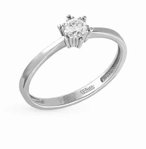 Кольцо «Бриллианты Якутии» с 1 бриллиантом, 0.22 карат  Белое золото 585  пробы −70% SUNLIGHT 6c163c82367
