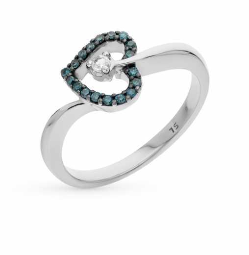 Кольцо с 18 бриллиантами сине-зелеными обл., 0.12 карат 1 топазом, 0.04  карат  Белое золото 585 пробы. −70% SUNLIGHT Золотое кольцо 49c23a8b880