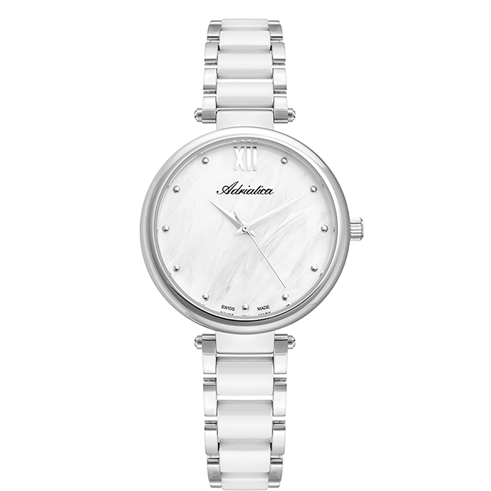 Женские часы A3705.C18FQ на стальном браслете с керамическими вставками с минеральным стеклом