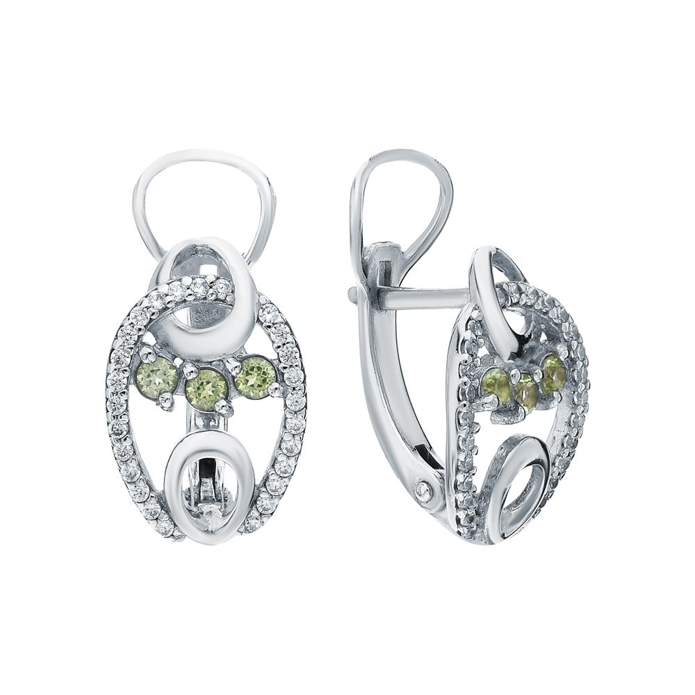 Фото «Серебряные серьги с хризолитом и фианитами»