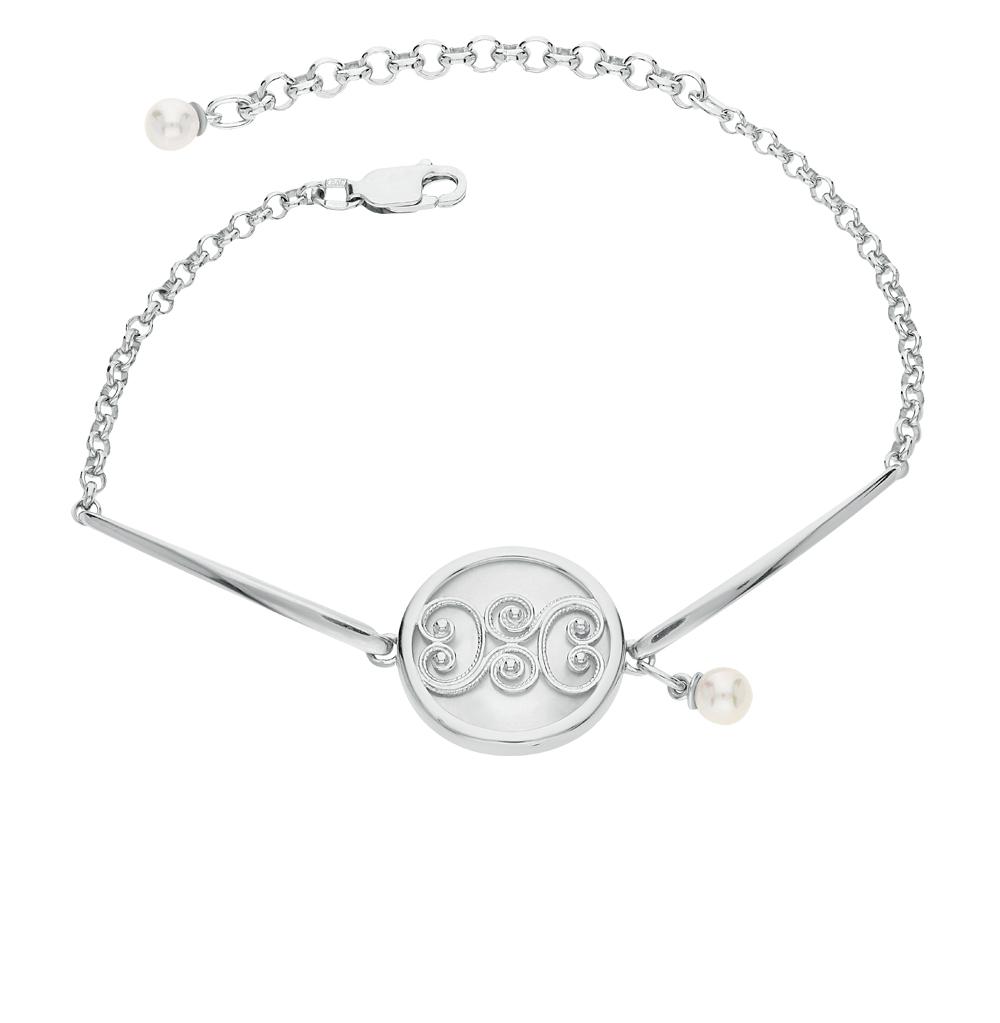 серебряный браслет с жемчугом и перламутром SOKOLOV 94050344