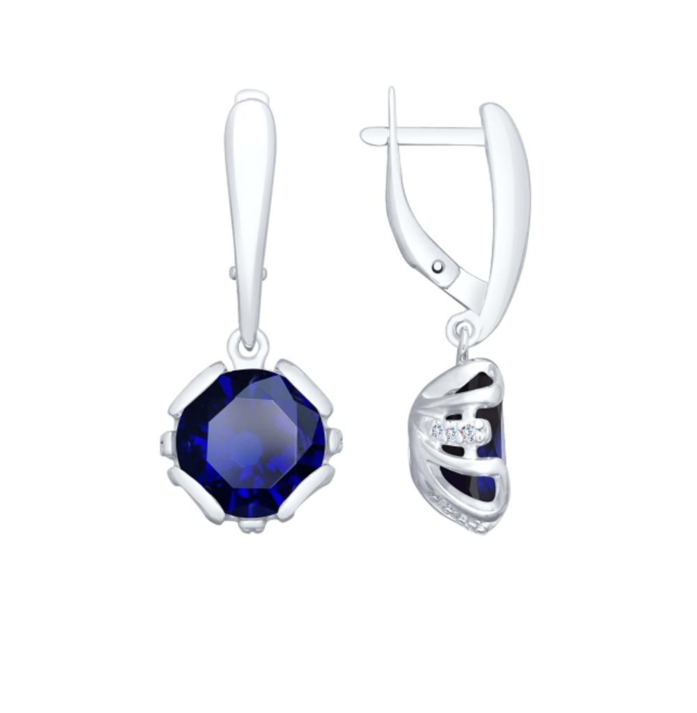серебряные серьги с фианитами и ситаллами SOKOLOV 92021981