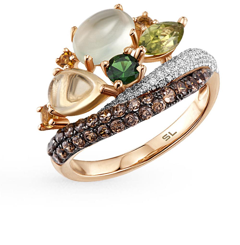Фото «золотое кольцо с пренитами, гранатом, цитринами и бриллиантами»