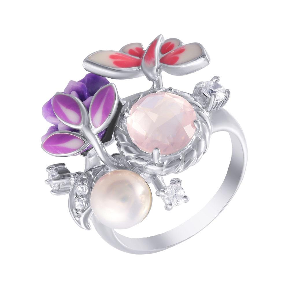 Фото «Серебряное кольцо с кварцем, эмалью, жемчугами культивированными и кубическими циркониями»