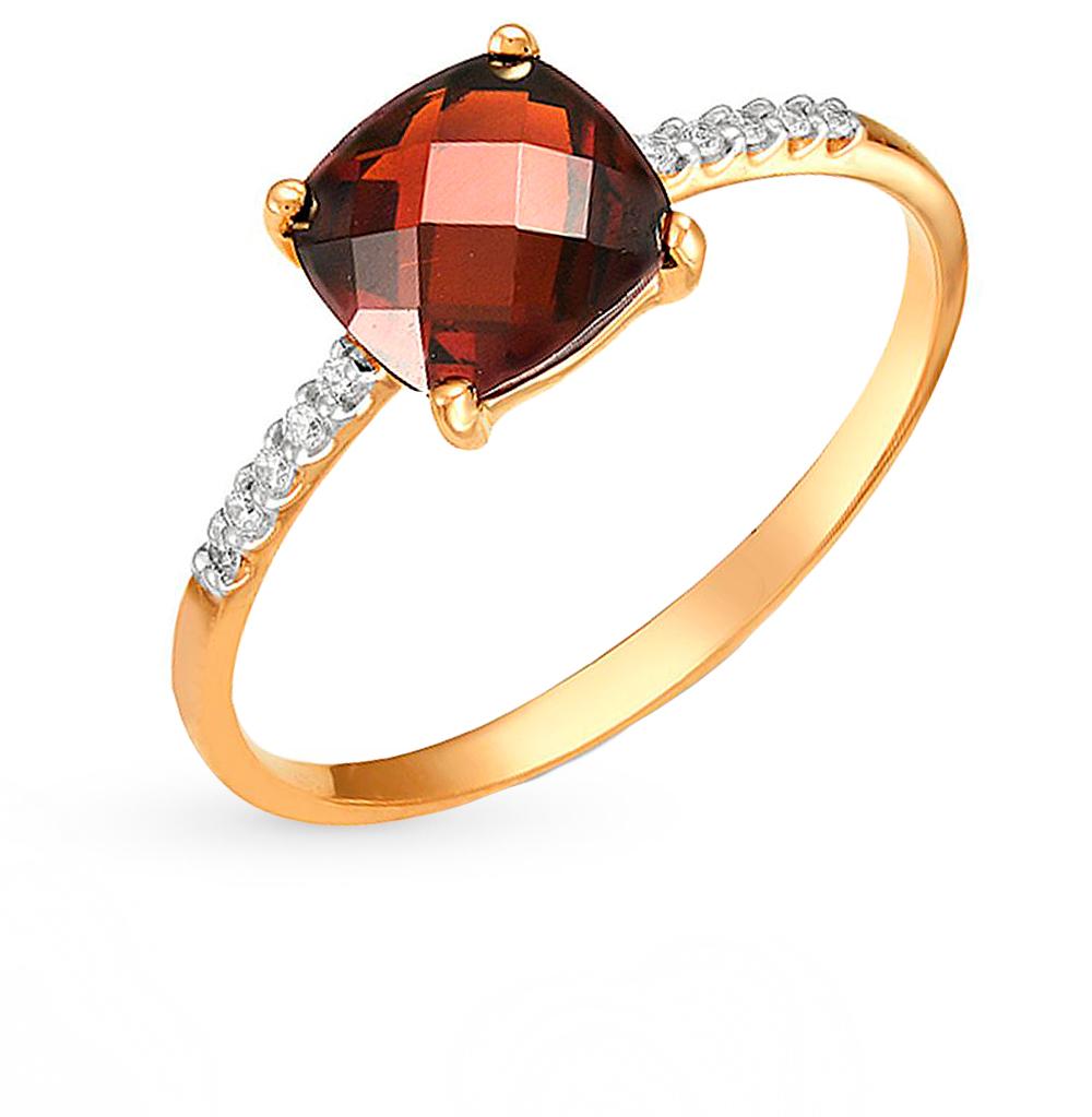 Фото «золотое кольцо с аметистом, гранатом, топазами, фианитами и родолитами синтетическими»