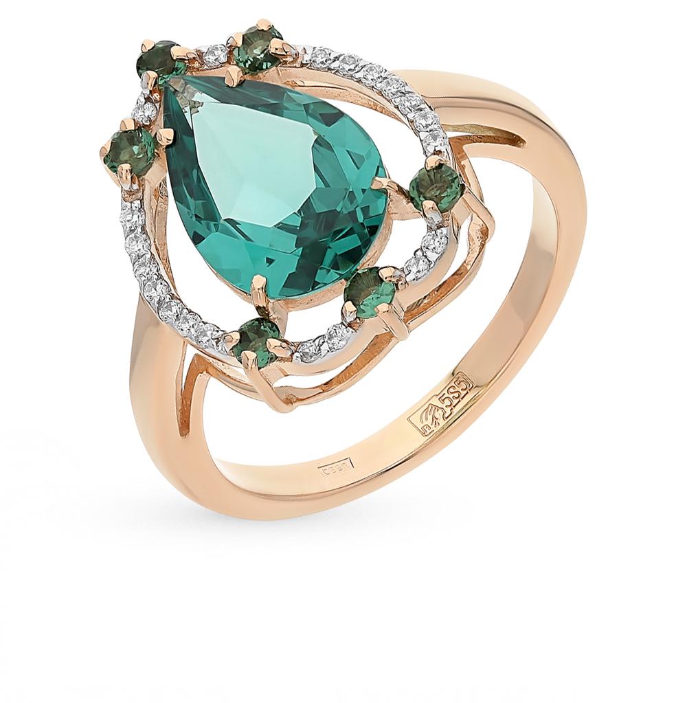 Фото «Золотое кольцо с турмалинами, фианитами и параиба ситаллом»