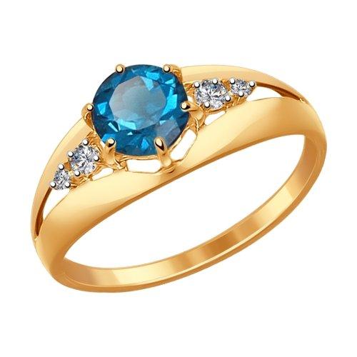 Золотое кольцо с топазами и фианитами SOKOLOV 714439* в Екатеринбурге