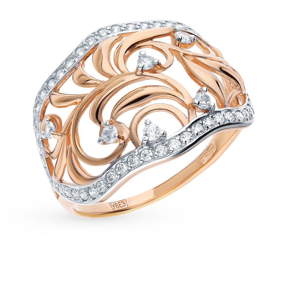 золотое кольцо с фианитами SOKOLOV 017556*