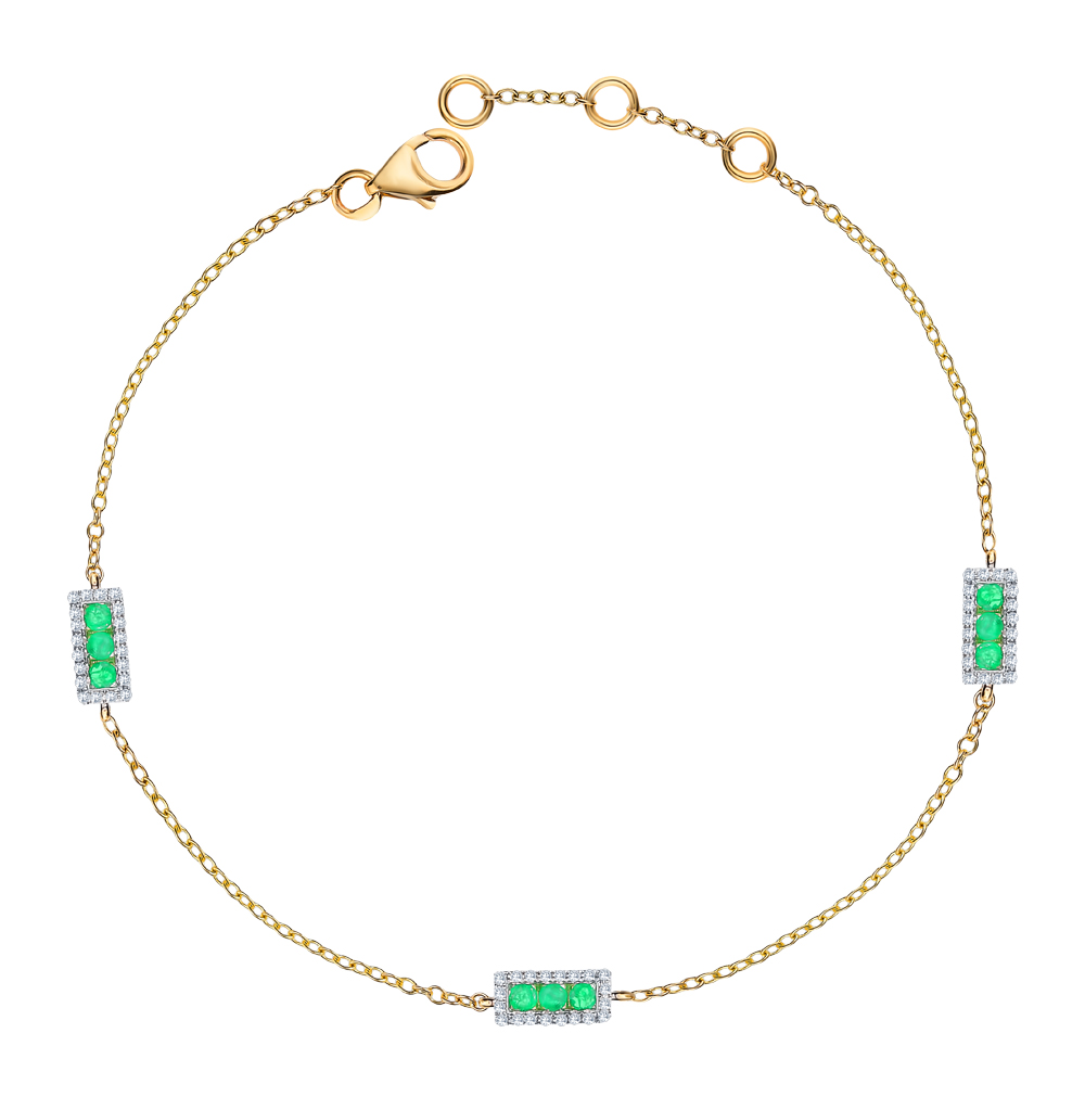 Фото «Золотой браслет с изумрудами и бриллиантами»