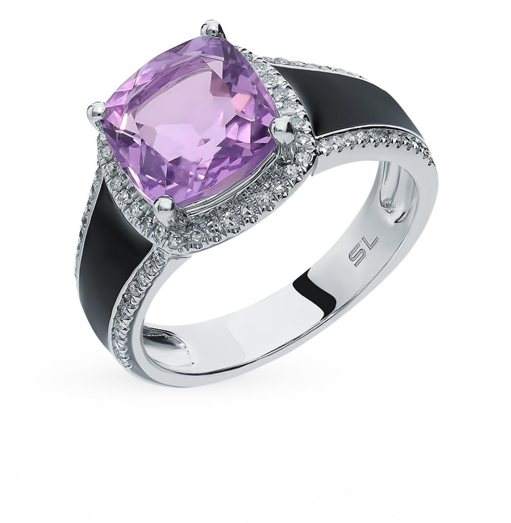 золотое кольцо с аметистом, эмалью и бриллиантами