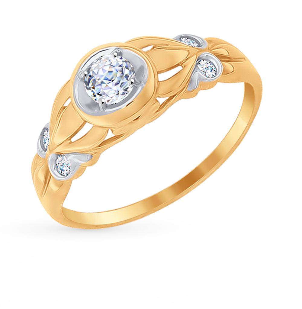 золотое кольцо с фианитами SOKOLOV 81010258*