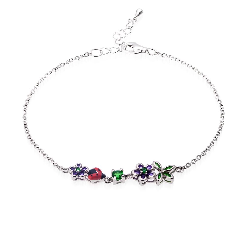 Фото «серебряный браслет с алпанитом и эмалью»