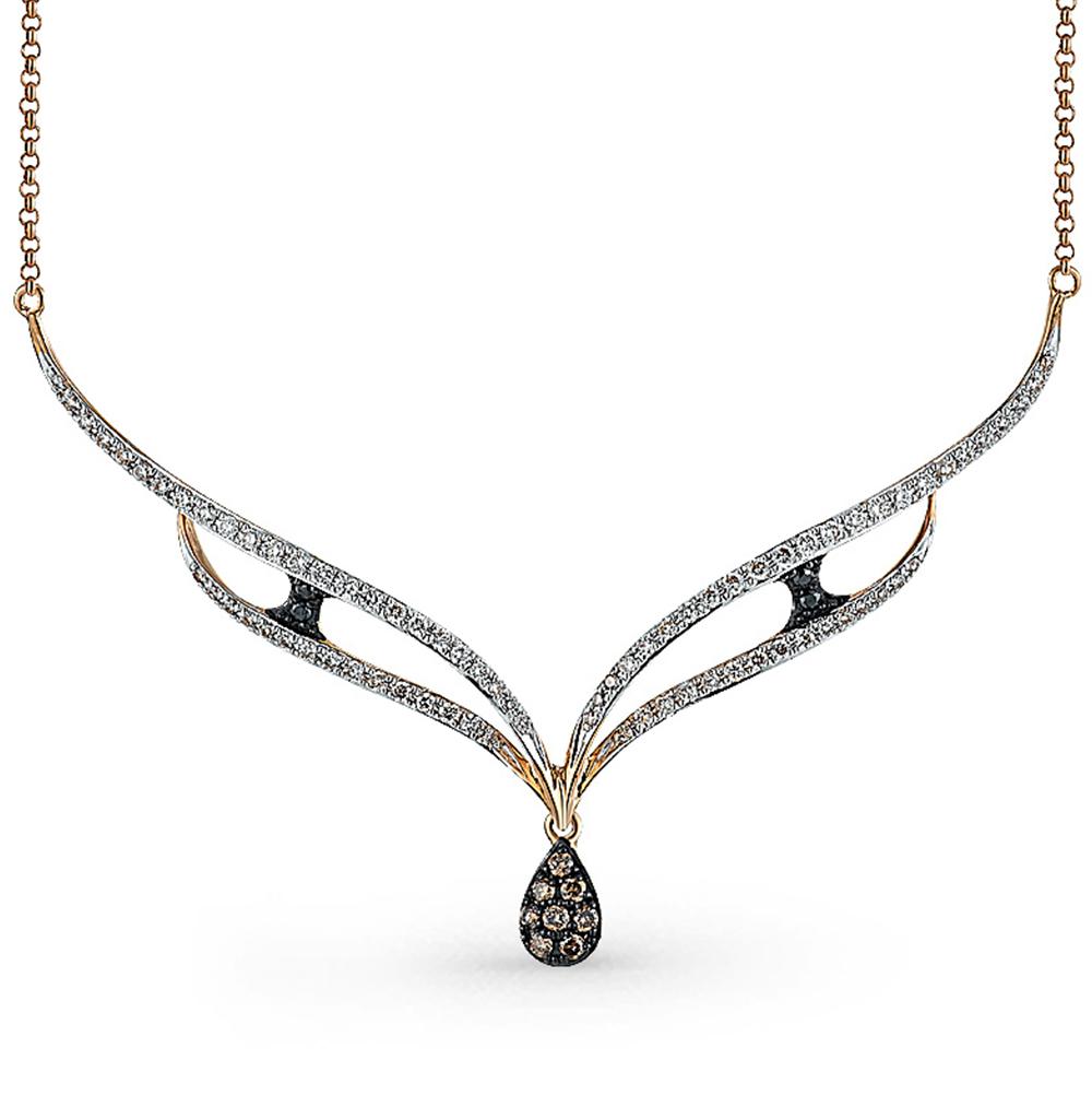 Золотое шейное украшение с чёрными и коньячными бриллиантами в Екатеринбурге