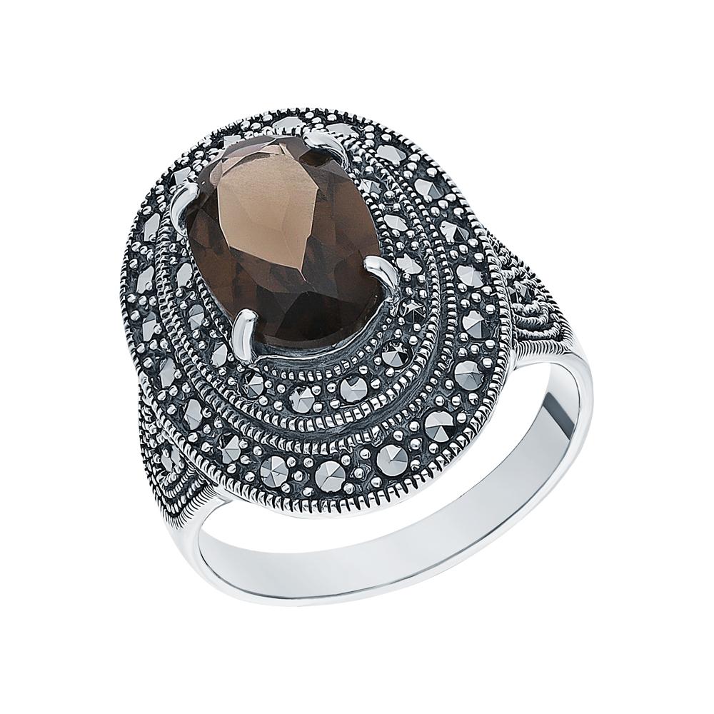 Серебряное кольцо с кварцами дымчатыми и марказитами swarovski в Екатеринбурге