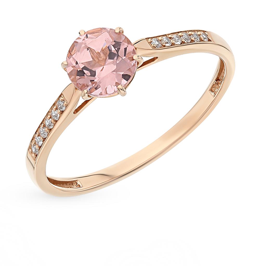 Золотое кольцо с морганитом и фианитами