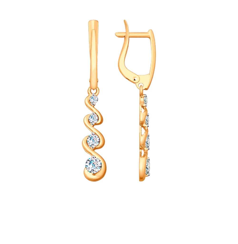 золотые серьги с фианитами SOKOLOV 027955