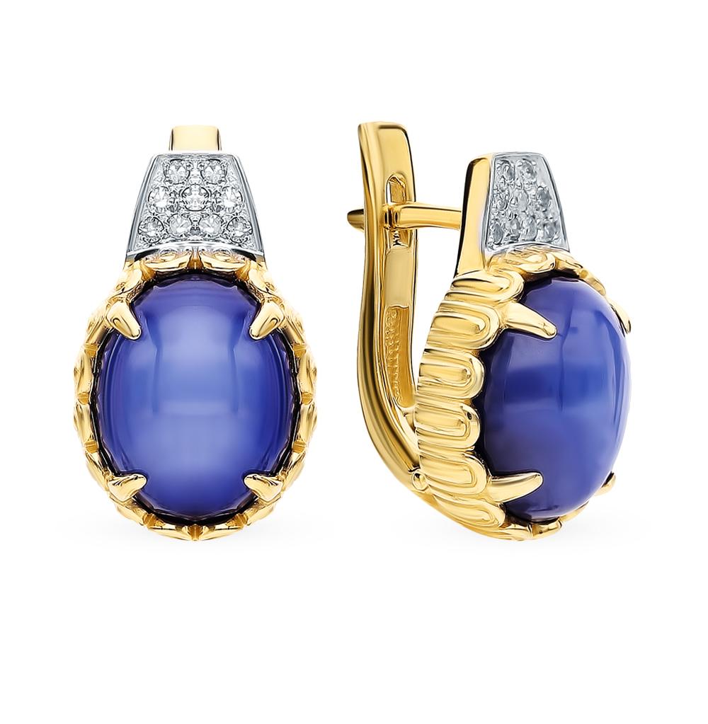 Фото «Золотые серьги с звездчатыми сапфирами и бриллиантами»