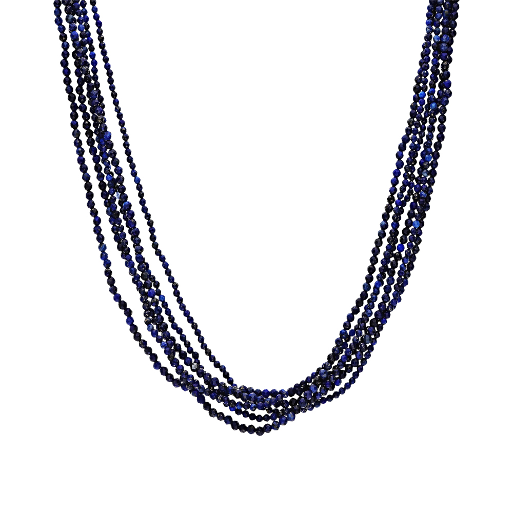 Фото «Серебряное шейное украшение с лазуритом и ювелирными кристаллами»