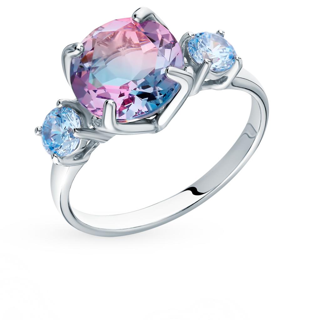Серебряное кольцо с фианитами и ситаллом SOKOLOV 92011718