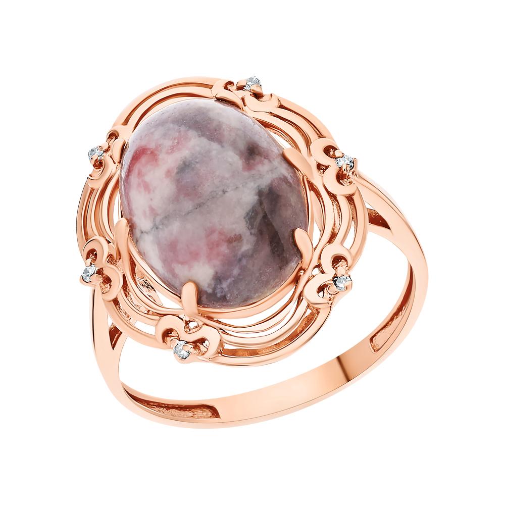 Серебряное кольцо с родонитами и фианитами в Санкт-Петербурге