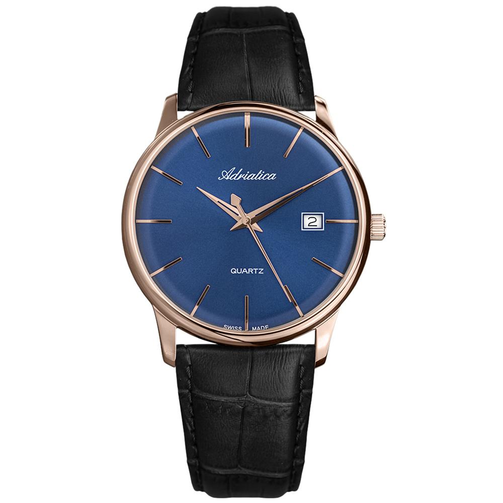 Мужские часы A8242.9215Q на кожаном ремешке с минеральным выпуклым стеклом