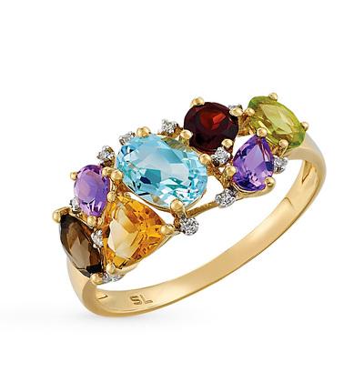 золотое кольцо с хризолитом, раухтопазами, аметистом, топазами, гранатом, цитринами и бриллиантами