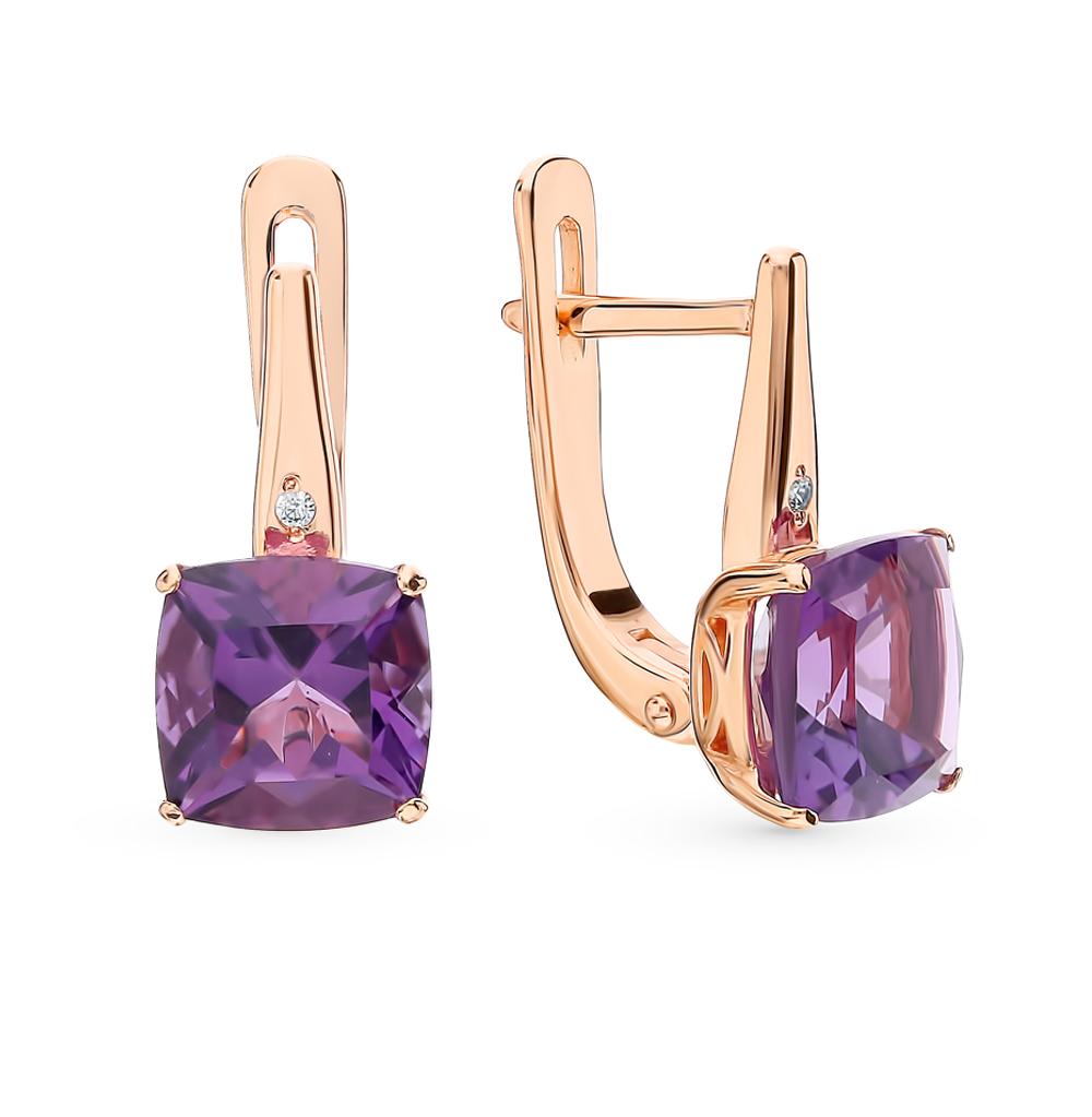 Золотые серьги с аметистом и бриллиантами в Екатеринбурге