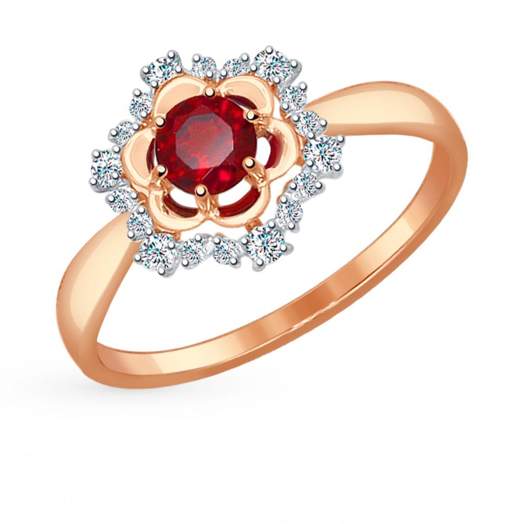 Фото «Золотое кольцо с фианитами и гранатом SOKOLOV 714486*»