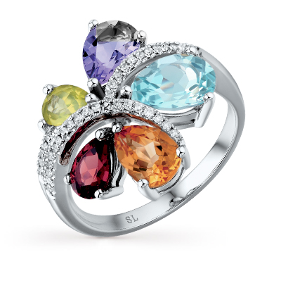 золотое кольцо с хризолитом, аметистом, топазами, гранатом, цитринами и бриллиантами