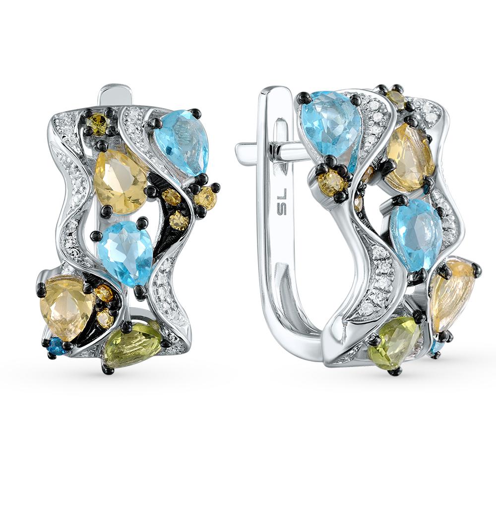 Золотые серьги с хризолитом, топазами, цитринами и бриллиантами в Санкт-Петербурге