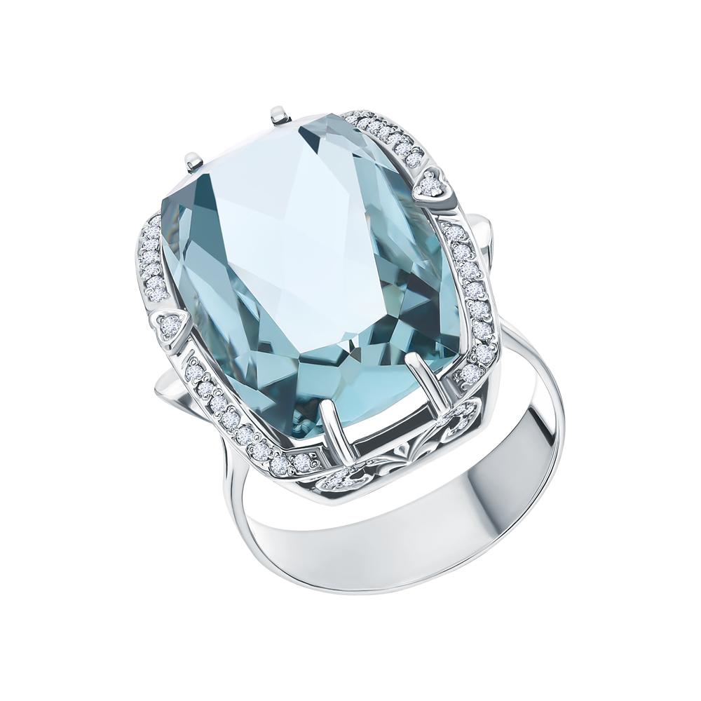 Фото «Серебряное кольцо с аквамарином и фианитами»