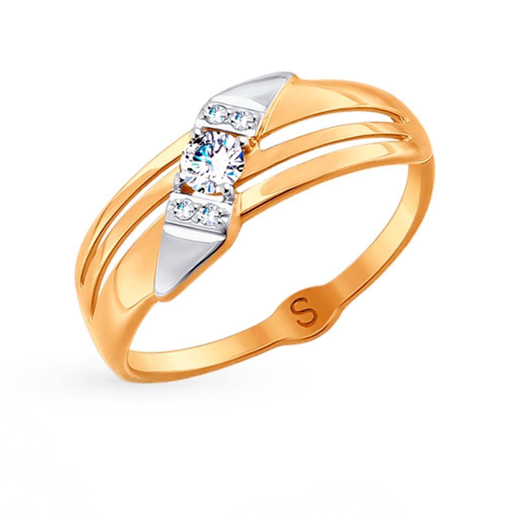 золотое кольцо с фианитами SOKOLOV 017936