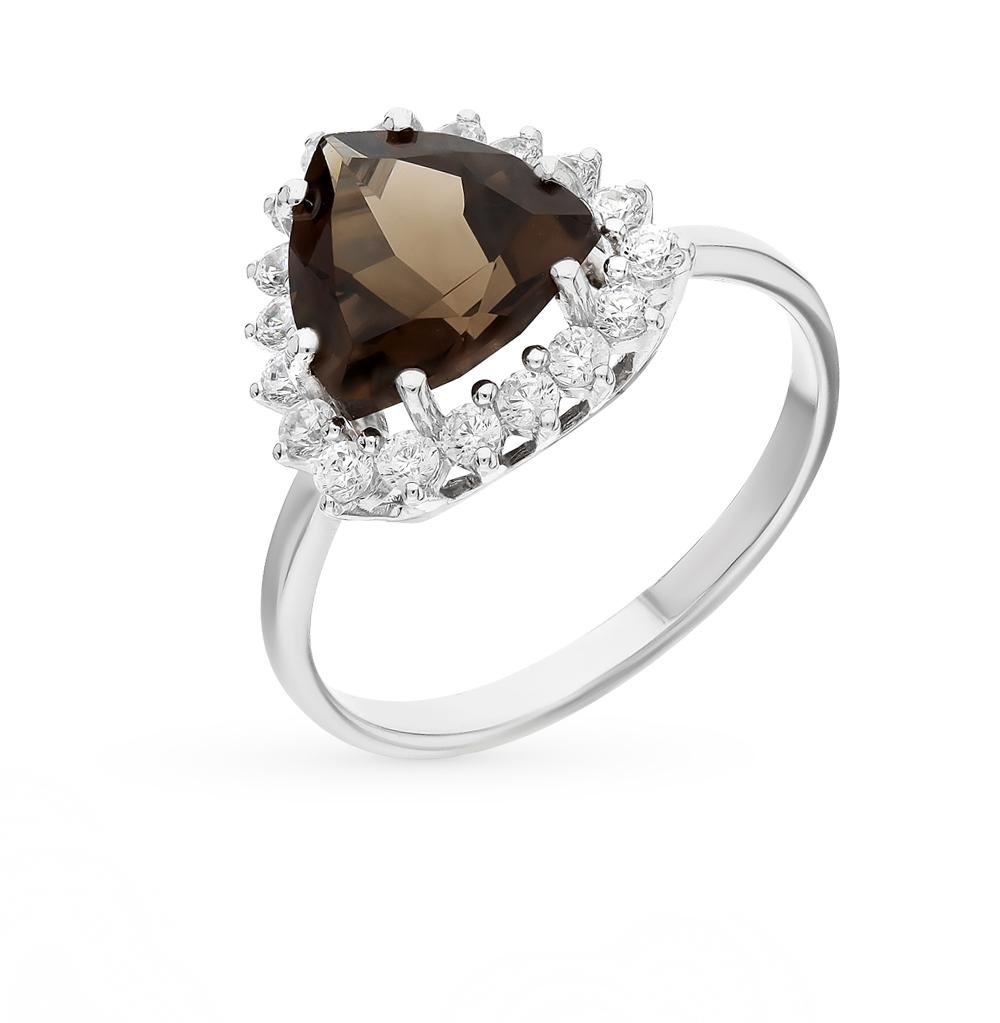 Фото «Серебряное кольцо с фианитами и раухтопазом»
