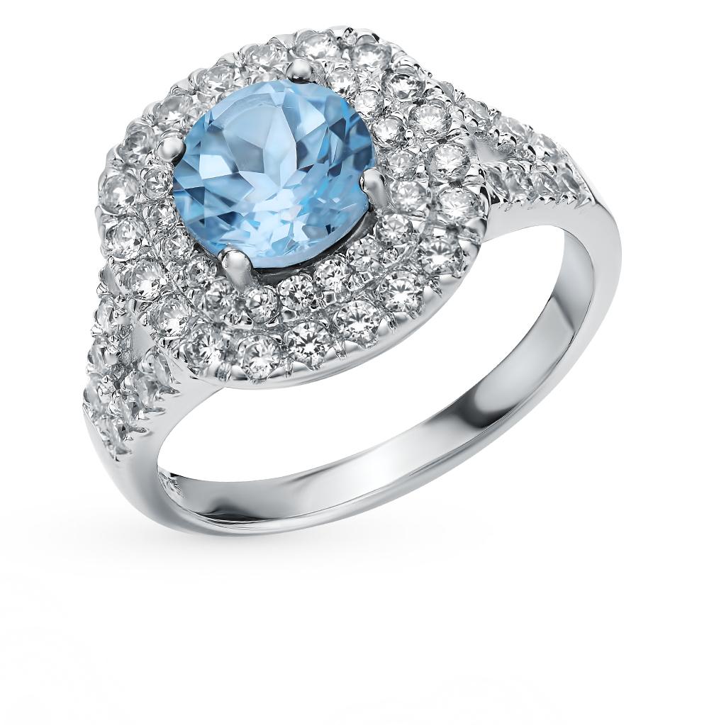 серебряное кольцо с топазами, фианитами и кубическими циркониями
