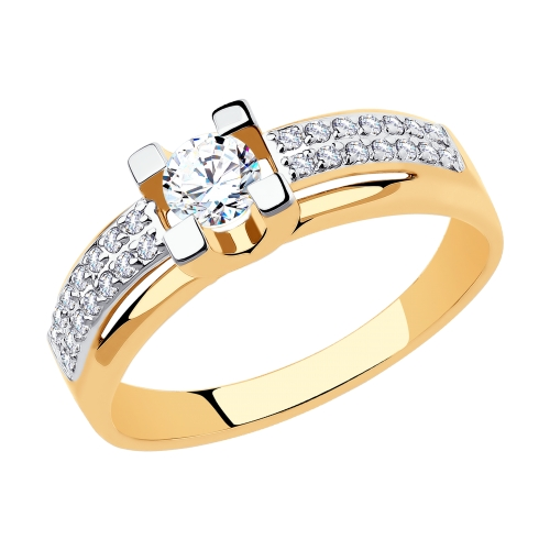 Фото «Золотое кольцо с фианитами SOKOLOV 018509*»