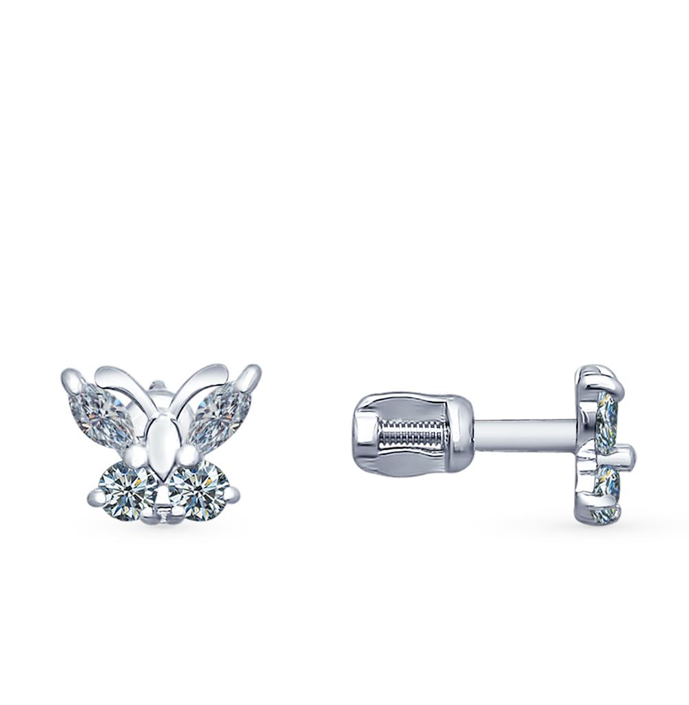 серебряные серьги с фианитами SOKOLOV 94020535