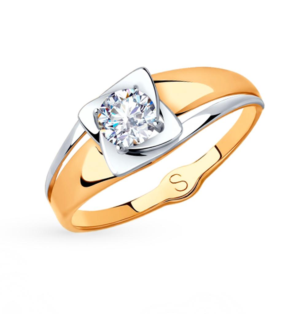 Фото «Золотое кольцо с фианитами SOKOLOV 017985»