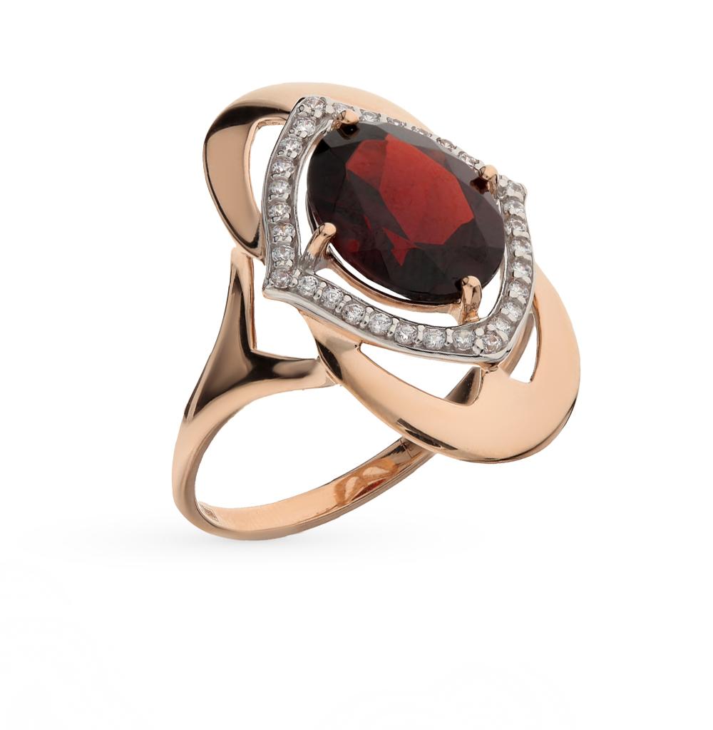 Фото «Золотое кольцо с фианитами и гранатом SOKOLOV 714391*»
