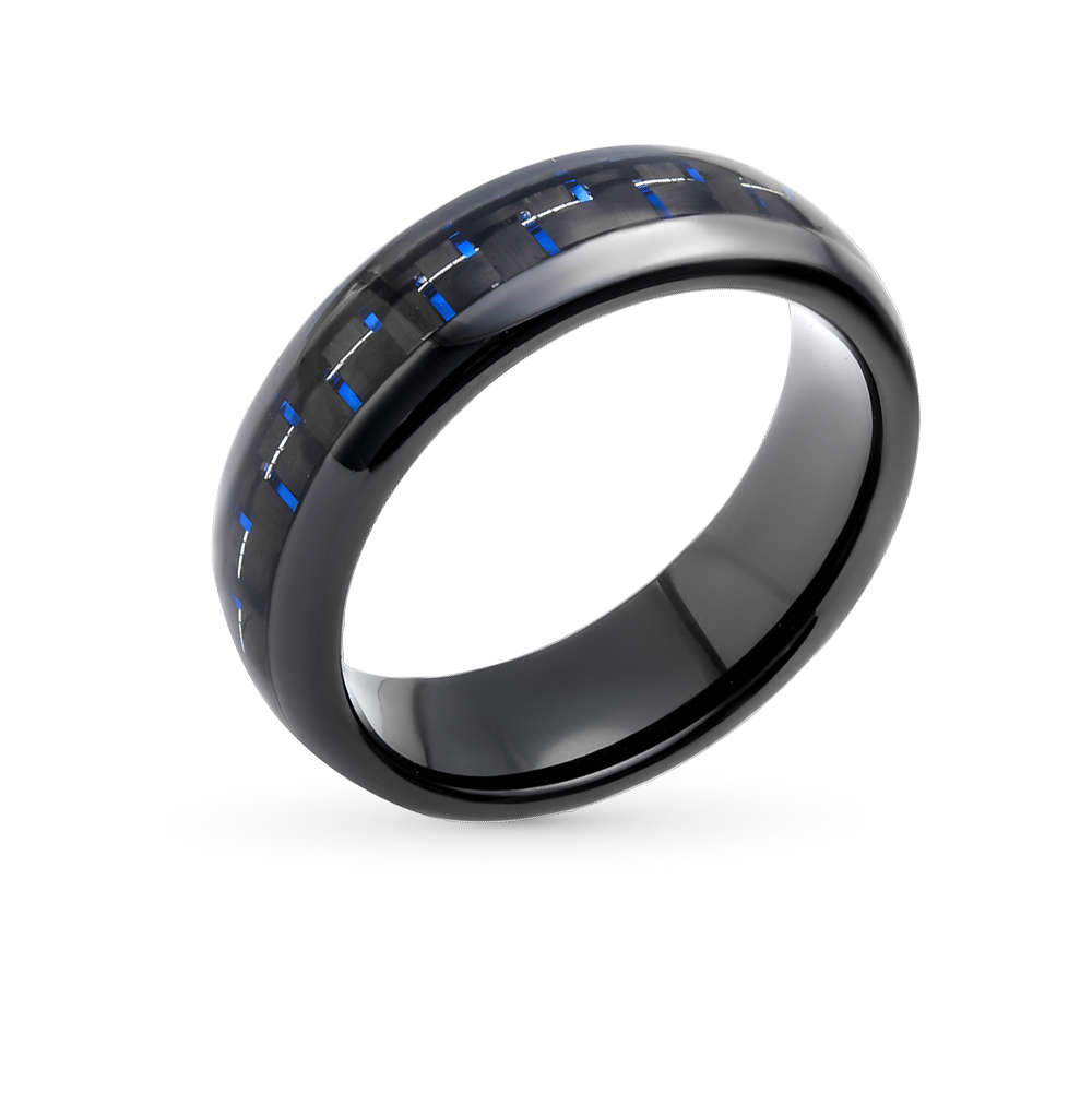 стальное кольцо с карбоном и вольфрамом