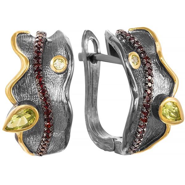 Фото «Серебряные серьги с гранатом и перидотами»