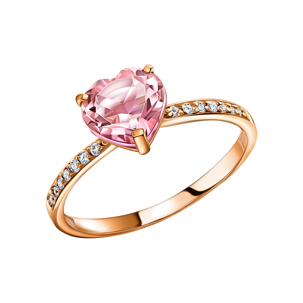 Фото «Золотое кольцо с морганитом и фианитами»